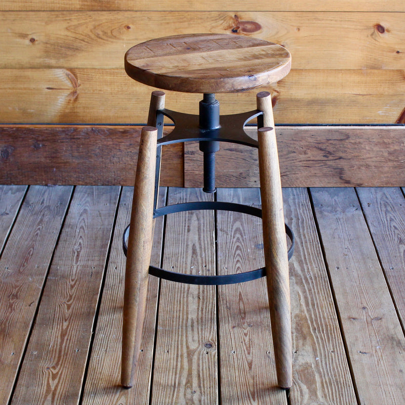 Industrial Rustic wooden Swivel Stool