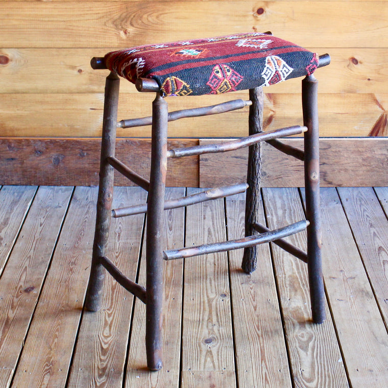 Camp Bar Stool with Vintage Kilim Seat