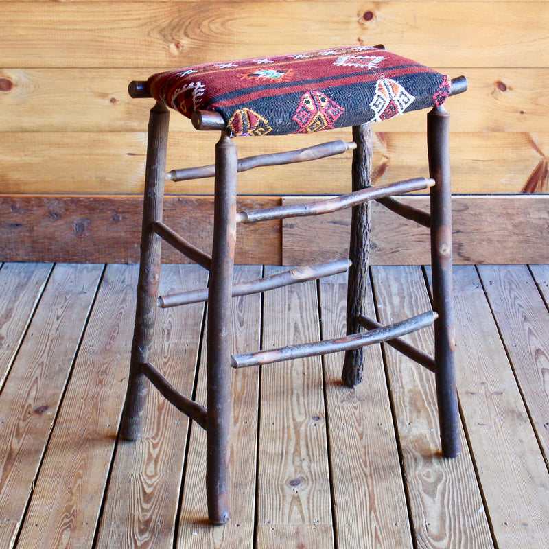 Sensational Camp Bar Stool With Vintage Kilim Seat Lamtechconsult Wood Chair Design Ideas Lamtechconsultcom
