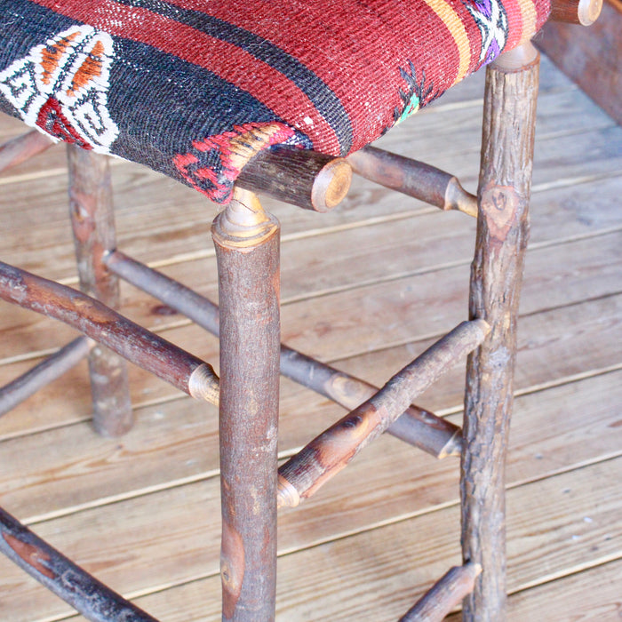 Adirondack Rustic Bar Stool in Hickory with vintage kilim seat