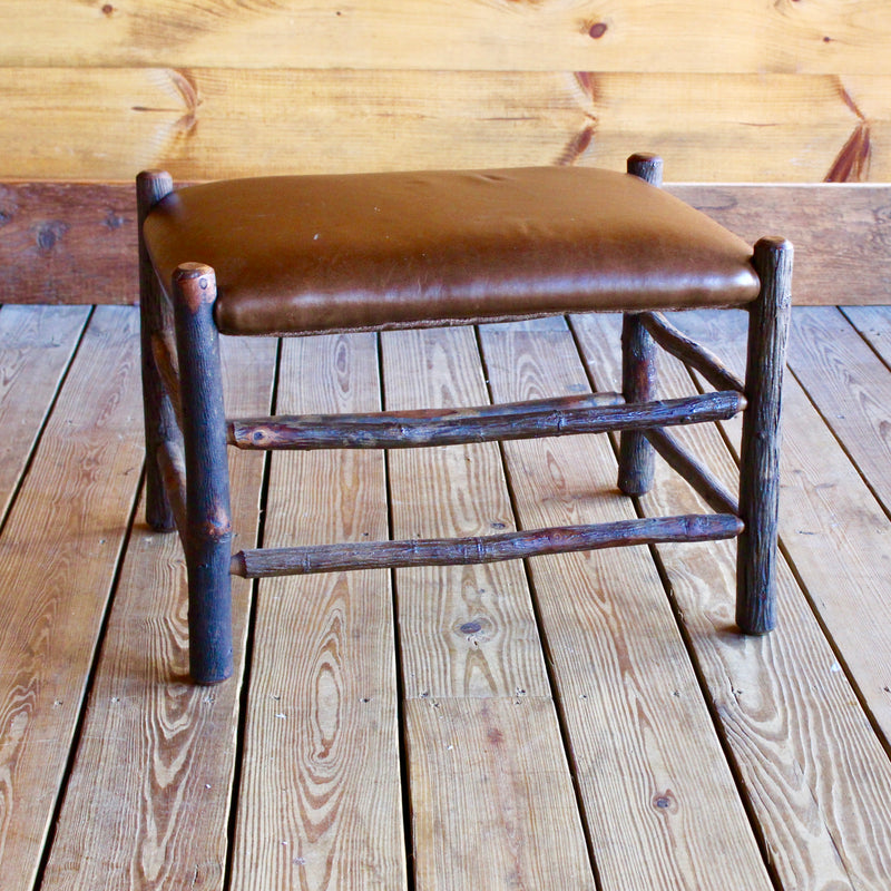 Rustic Hickory Ottoman with Leather Seat