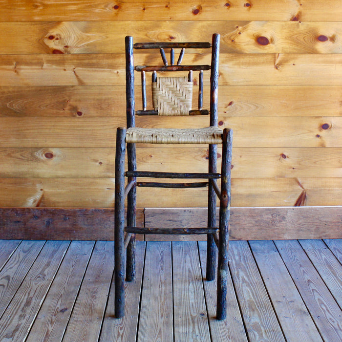Adirondack rustic hickory bar stool with splint seat