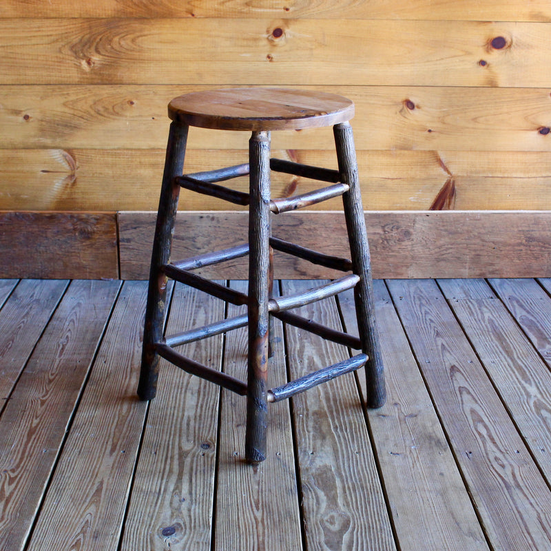 Rustic Hickory Stool with Wood Seat