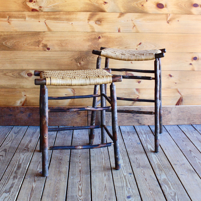 Rustic Adirondack Bar Stool in Hickory and Splint