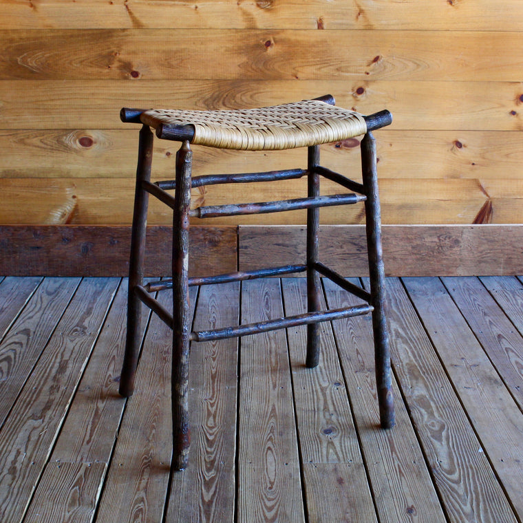Camp Bar Stool in Hickory and Splint