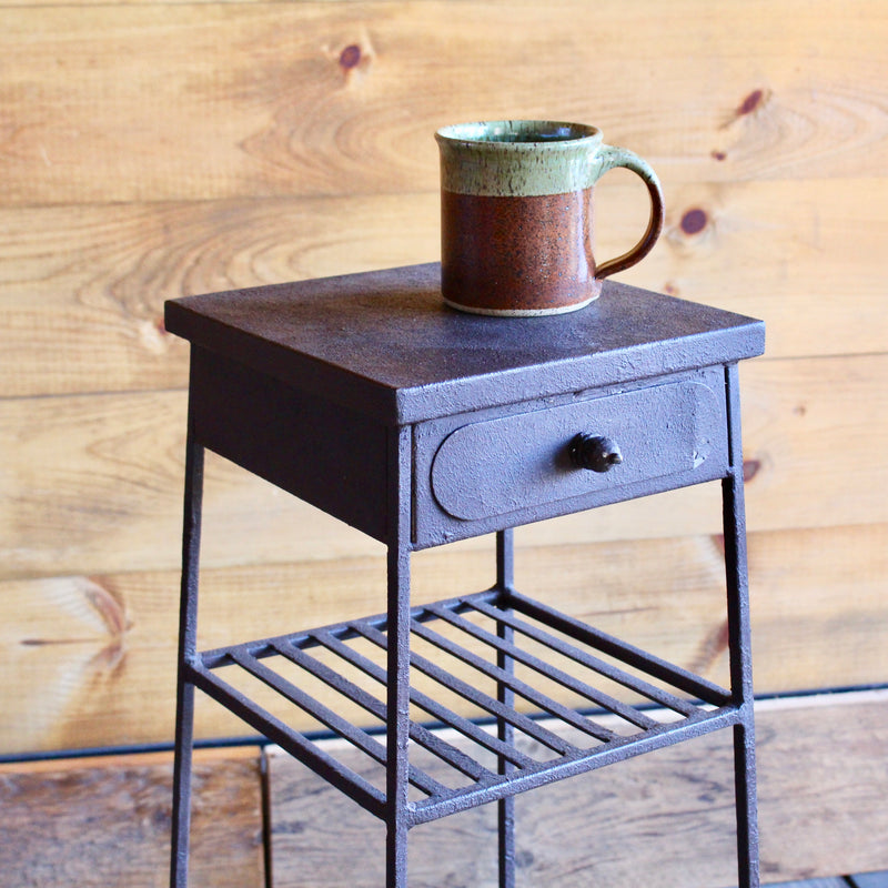 Rust-Finished Compact Metal Side Table with Drawer and Two Shelves