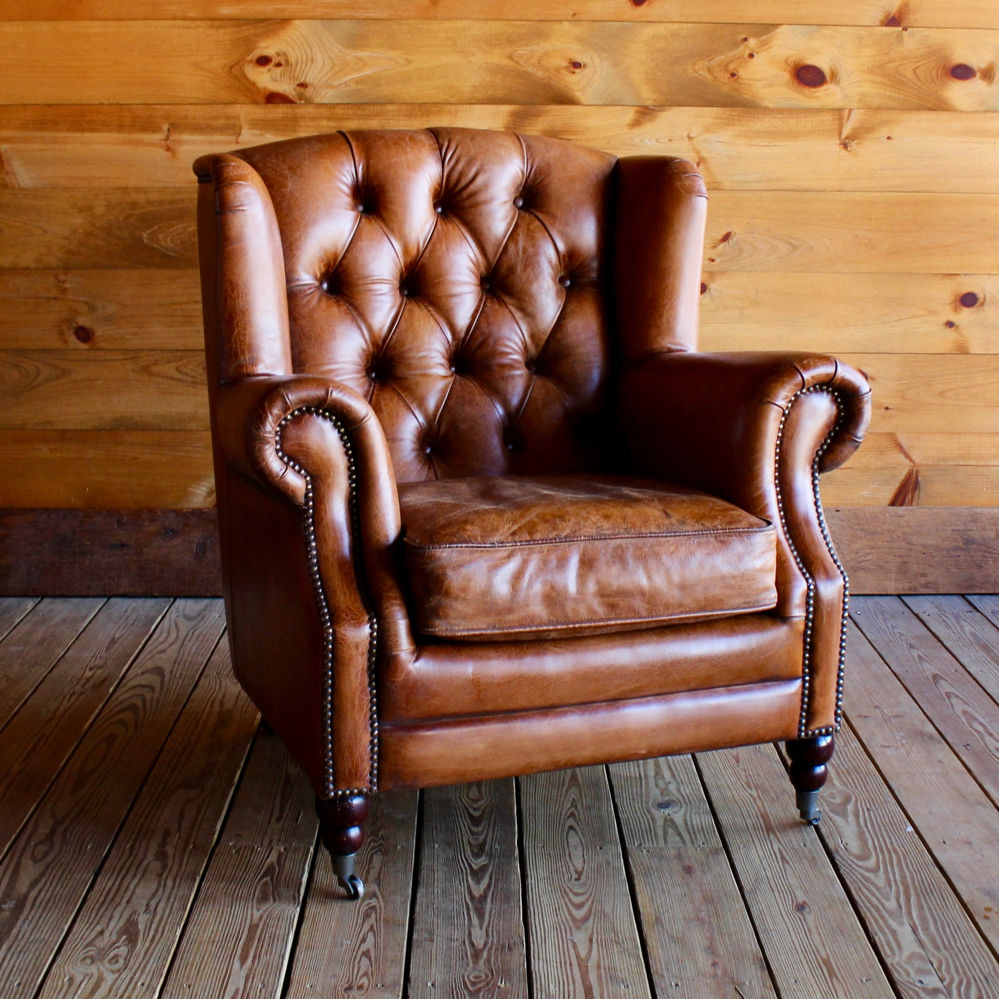 ... Tufted Buffalo Leather Wing Chair ...