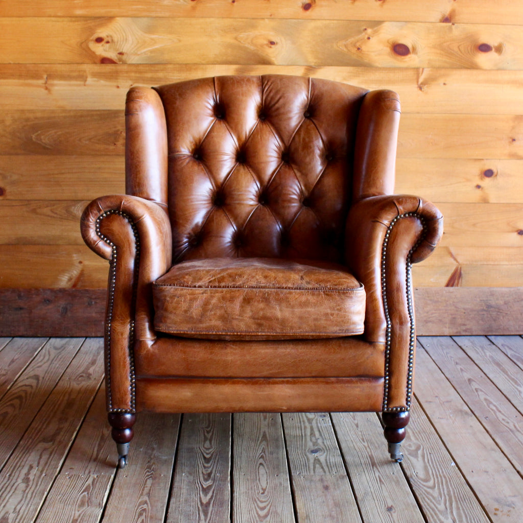 Tufted Buffalo Leather Wing Chair