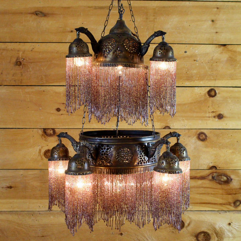 Beaded Moroccan Brass Chandelier
