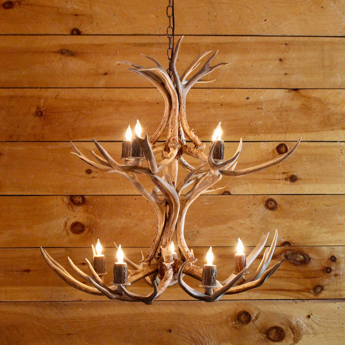 mule antler chandelier 9 light