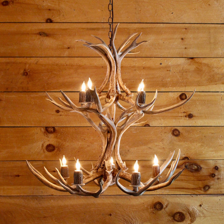 Mule Deer Antler Chandelier | 9-Light