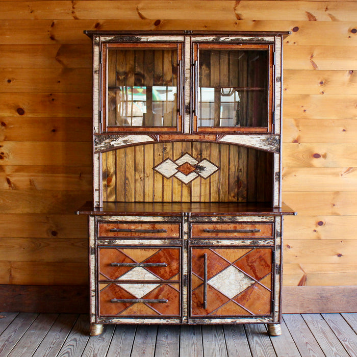 Adirondack Rustic Birch Cupboard China Cabinet