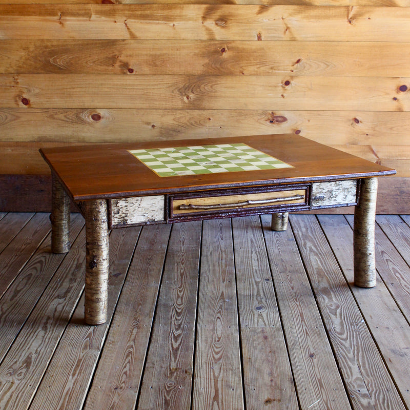 ... Handmade Adirondack Rustic Birch Game Coffee Table ...