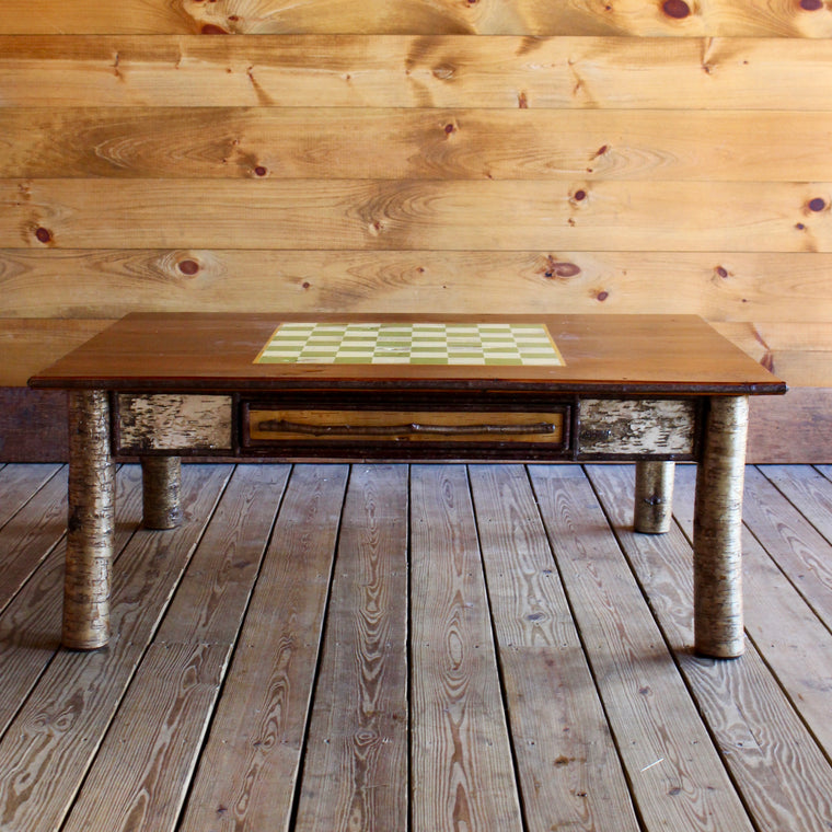 Handmade Adirondack Rustic Birch Game Coffee Table