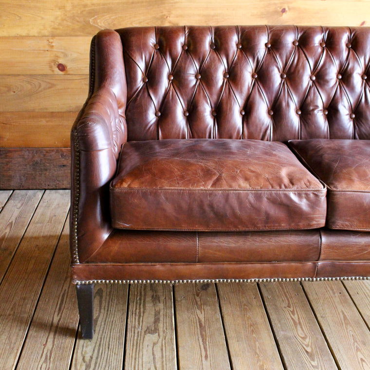 Brown Leather Tufted Two Cushion Love Seat