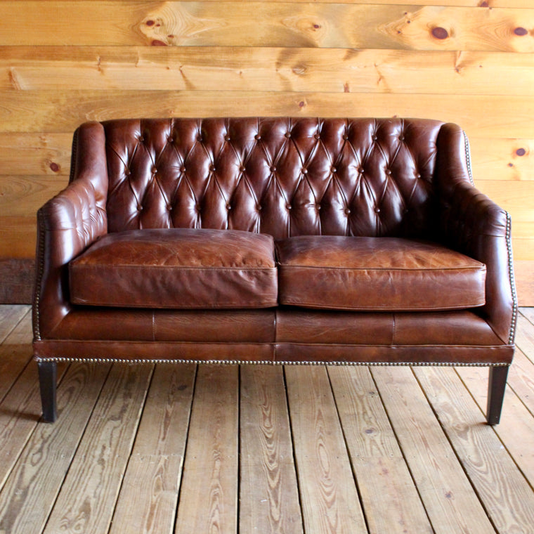 Macomb Tufted Leather Settee
