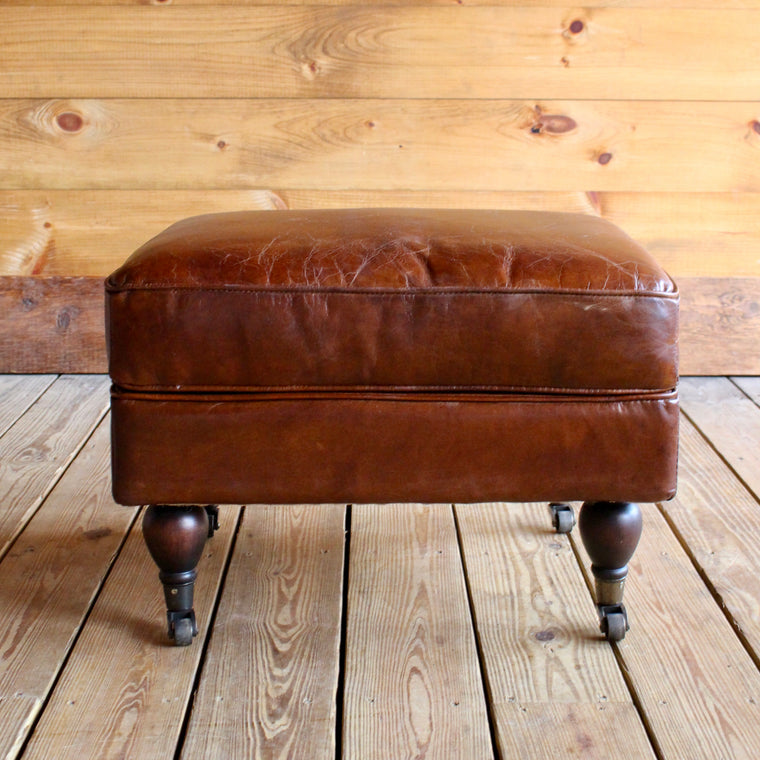 Leather Ottoman with Casters