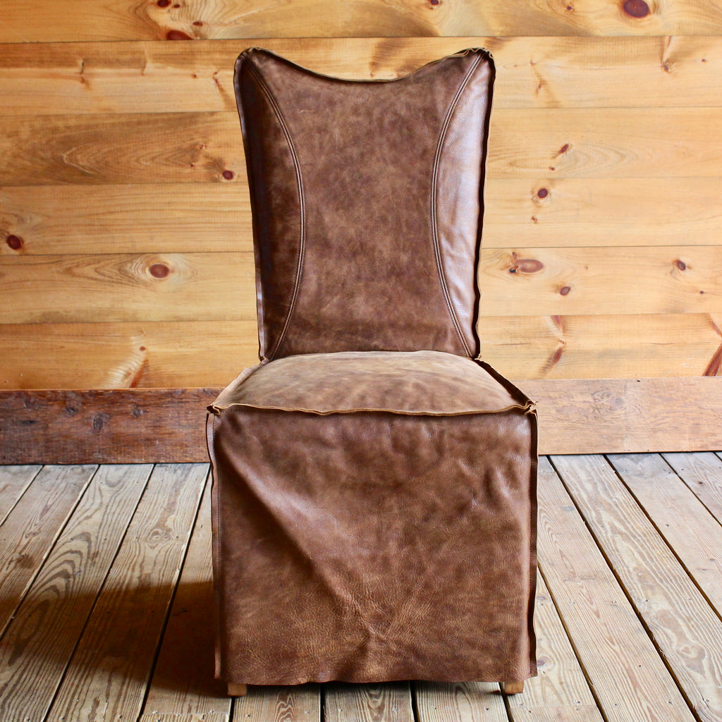 Top Grain Leather Dining Chair with raw edges