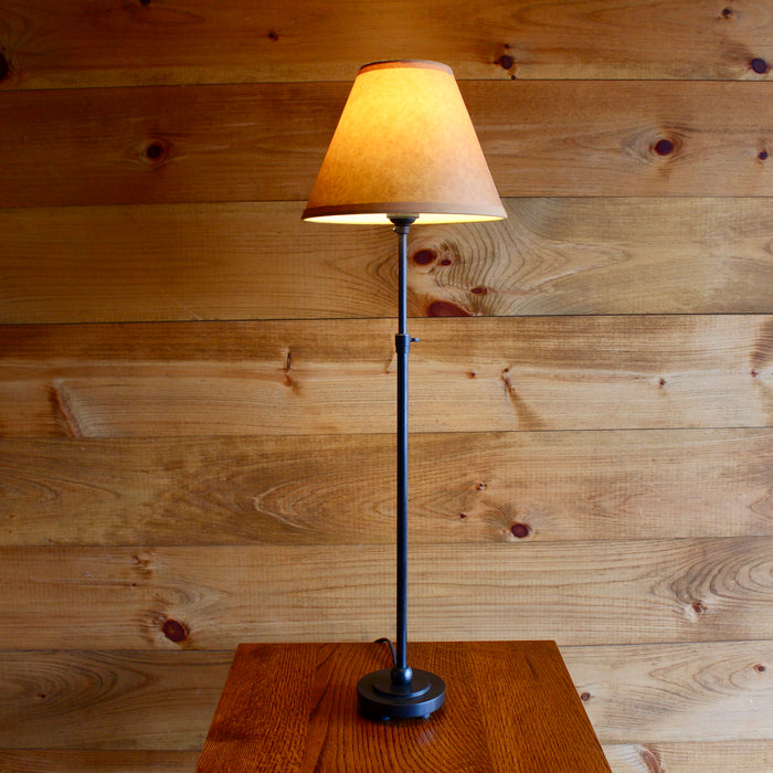 adjustable metal table lamp with Kraft shade