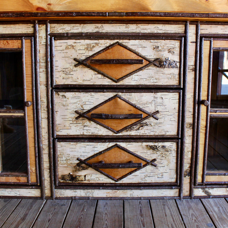 Adirondack Rustic Birch Buffet Cabinet with Reclaimed Barn Wood Top