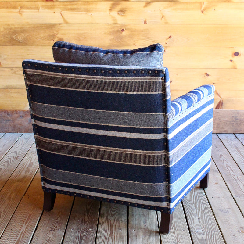 Striped Blue Placid Chair with Naillhead Trim