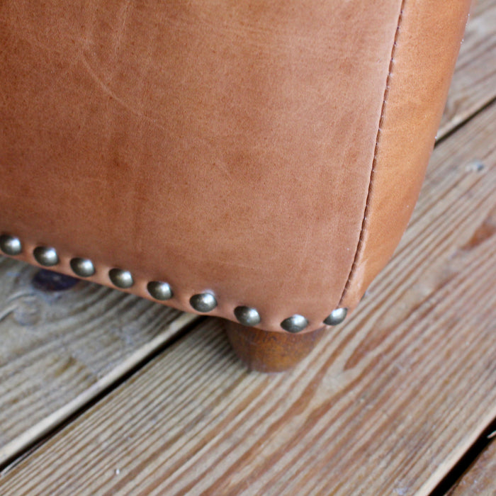 Hudson rustic Leather Ottoman with Nailhead Trim