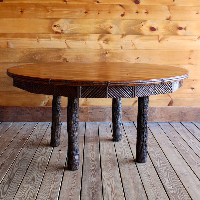 Round Adirondack Rustic Barn wood and hickory Dining Table