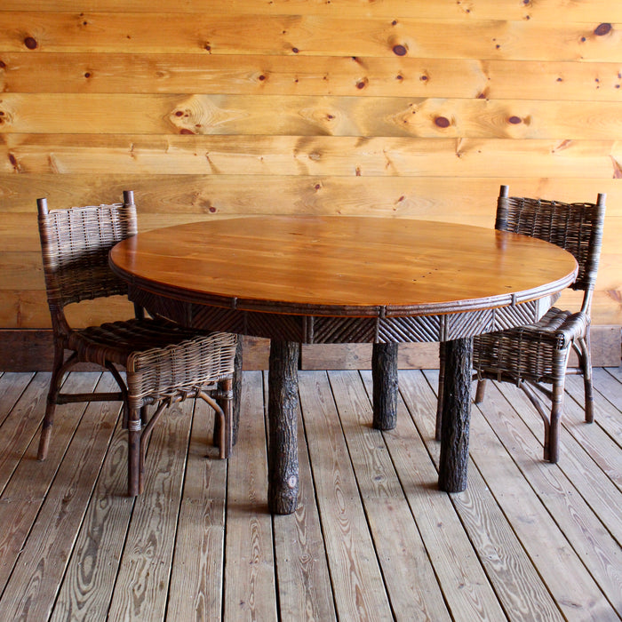 Round Adirondack Rustic barnwood and hickory Dining Table