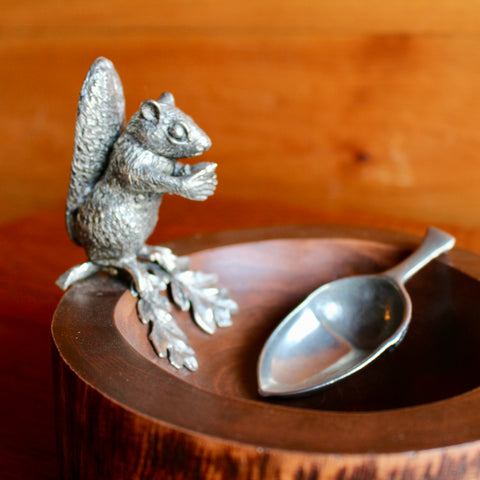 Pewter and Wood Squirrel Nut Bowl with Scoop