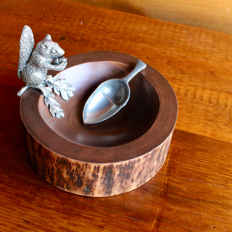 wooden nut bowl with pewter squirrel and scoop