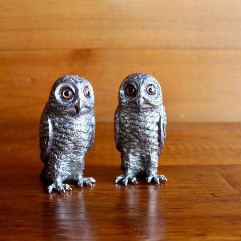 Pewter Owl Salt and Pepper Shakers