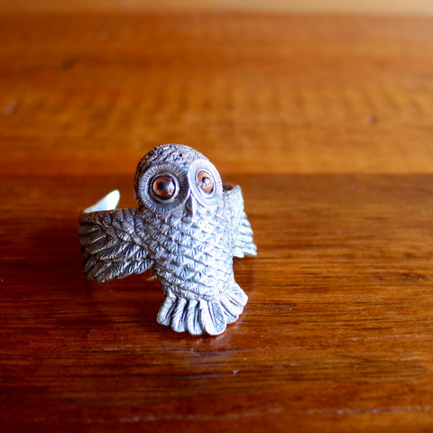 Pewter Owl Napkin Ring