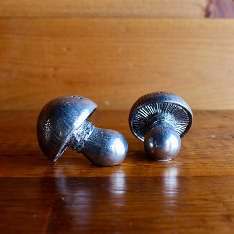 Pewter Mushroom Salt and Pepper Shakers
