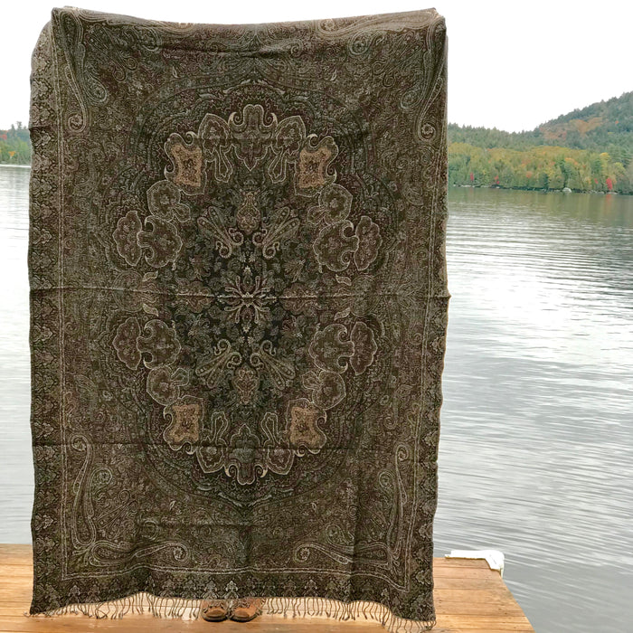 Grey Boiled Wool Throw