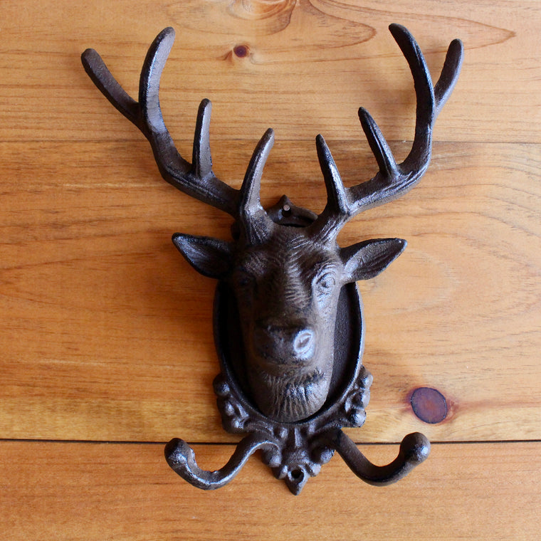 Cast Iron Stag Double Hook