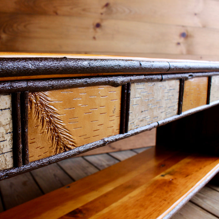 Rustic Reclaimed Barn wood Bench with Birch Detail