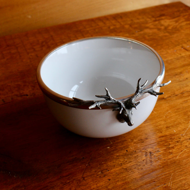 stoneware bowl with pewter elk head