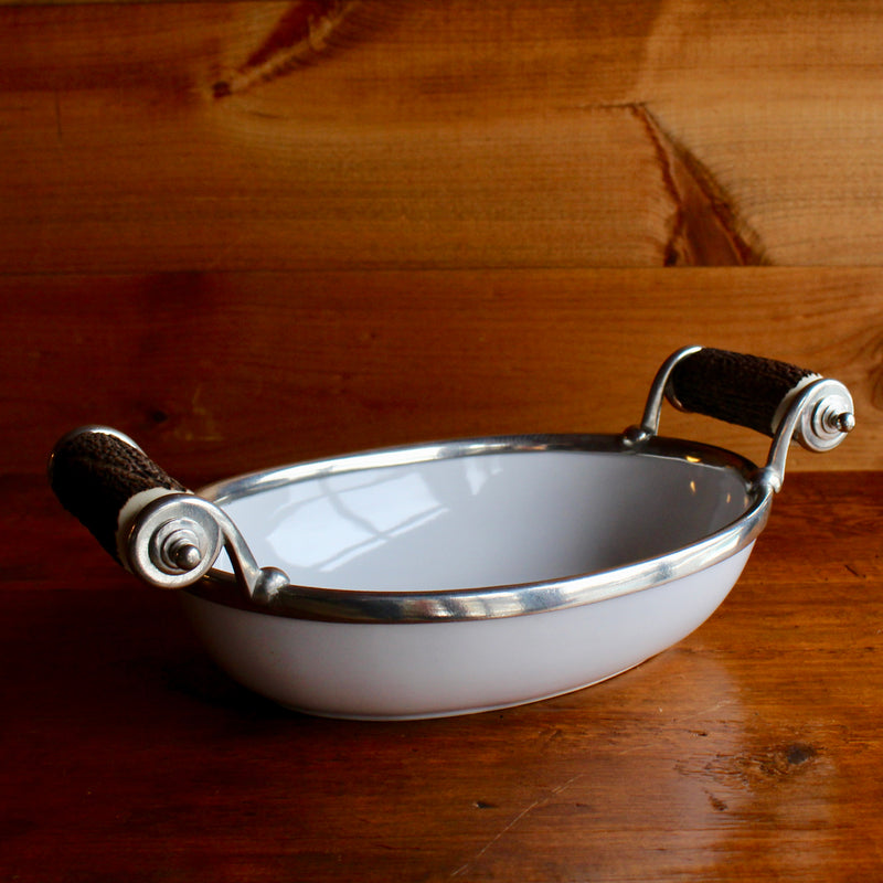 stoneware bowl with pewter and antler handles