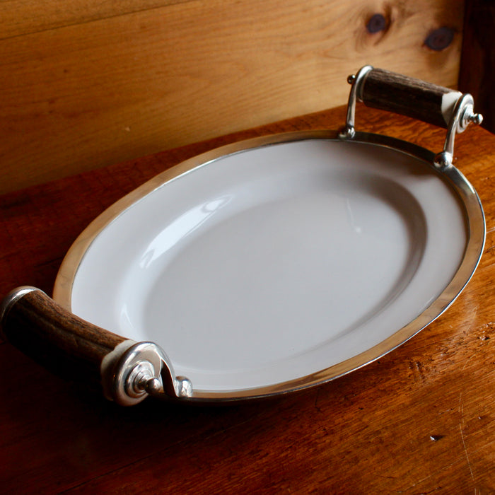 stoneware platter with pewter and antler handles