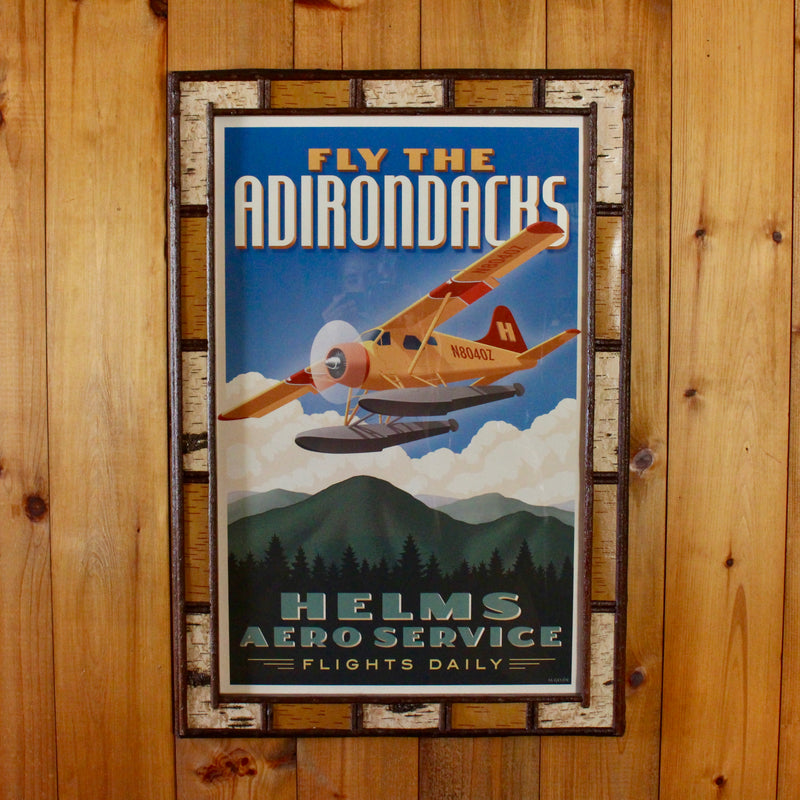 Seaplane flights over Adirondack lakes poster