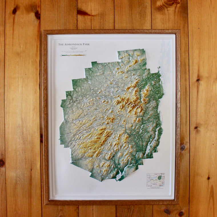 Framed Raised Relief ADK Map