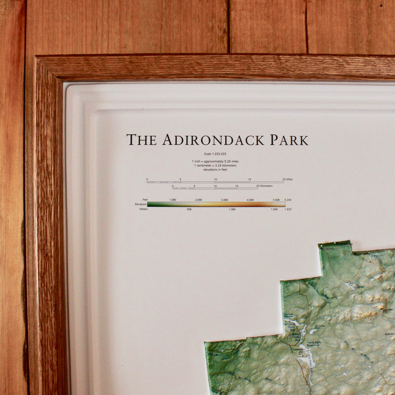 raised topographical map of the Adirondack blue line