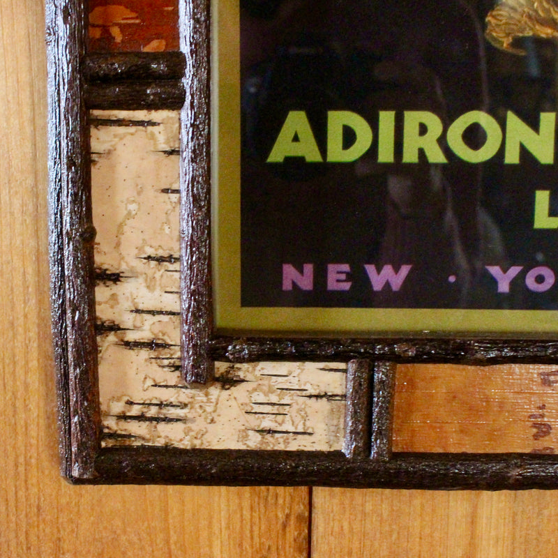 Adirondack mountain poster in handmade birch bark frame