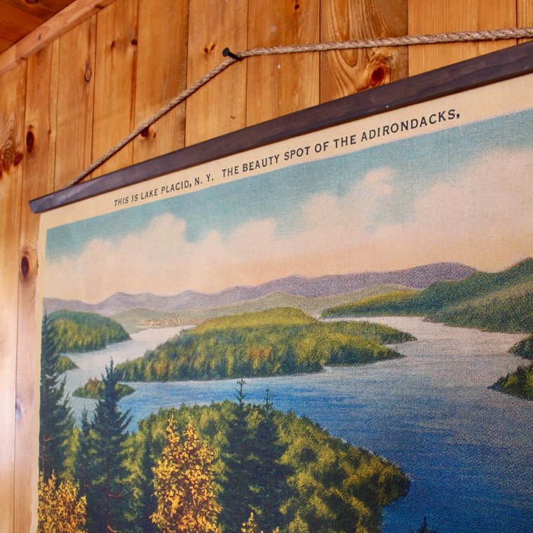 view of lake placid from whiteface mountain wall canvas