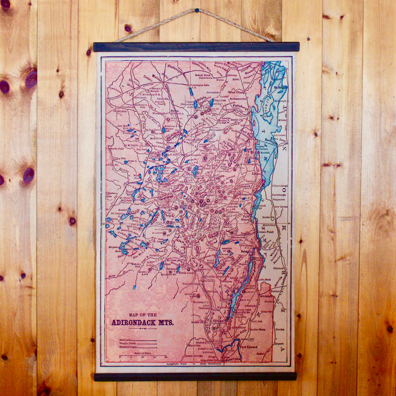 Adirondack Map Wall Chart Rustic Adirondack Decor
