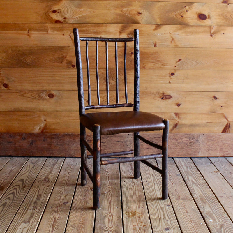 Adirondack Rustic hickory wood dining chair with leather seat