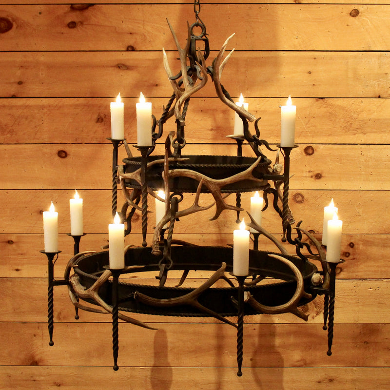 Great Camp Iron Antler Chandelier Tiered Iron And Antler