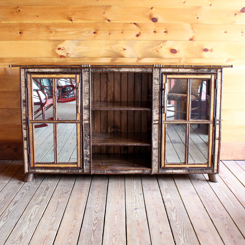 Handcrafted Barn Wood Furniture; Rustic Birch Entertainment Cabinet ...