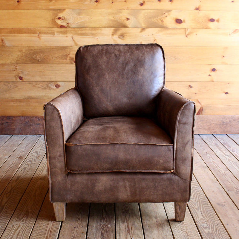 ... Top Grain Leather Accent Chair With Raw Edges ...