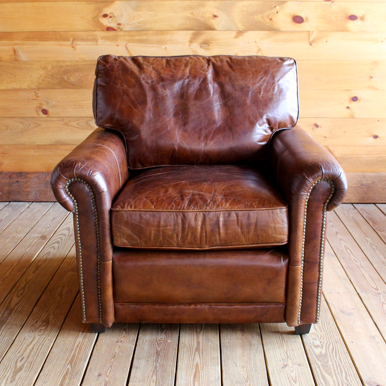 Roll Arm Leather Chair